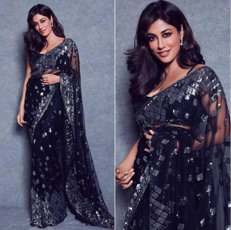 Black Color Bollywood Net Sequence Saree