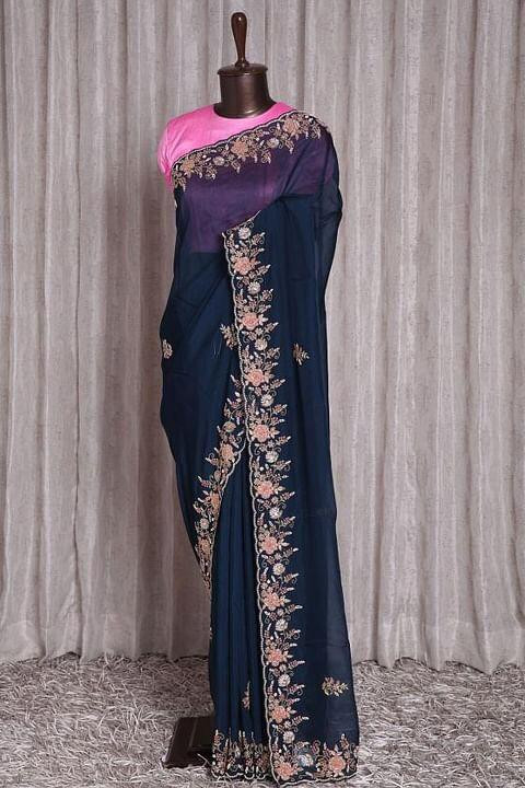 Party Wear Navy Blue Embroidery Work Saree