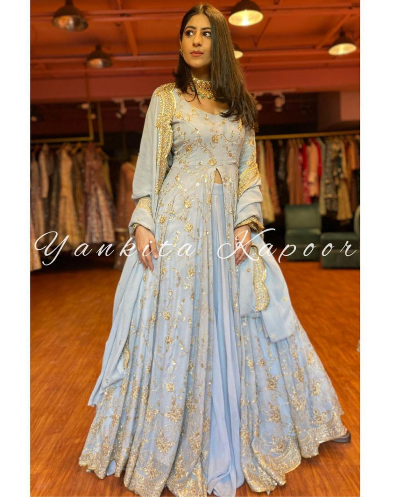 Yankita Kapoor Style Embroidery Work Georgette Gown With Lehenga
