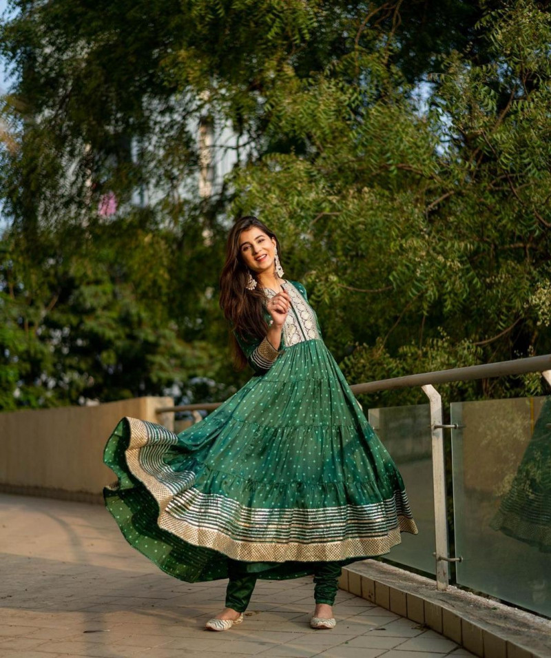 Stylish Green Color Embroidery Work  Anarkali Gown