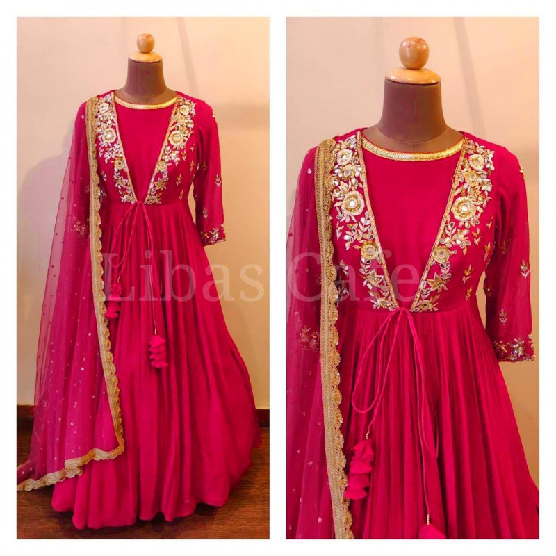Pink Color Embroidery Work Anarakali Gown