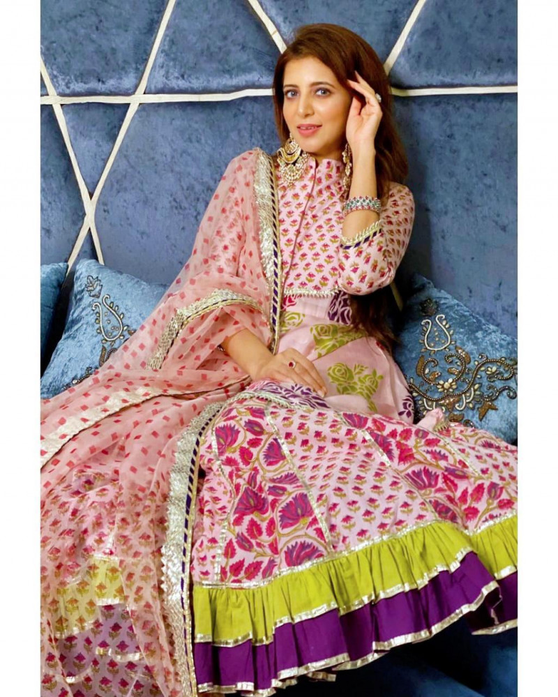 Designer Light Pink Color Two Layer Printed Gown