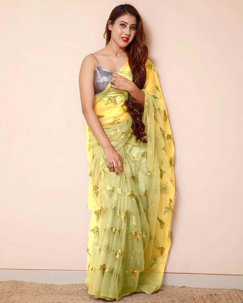 Yellow Color Butterfly Sequence Work Net Saree