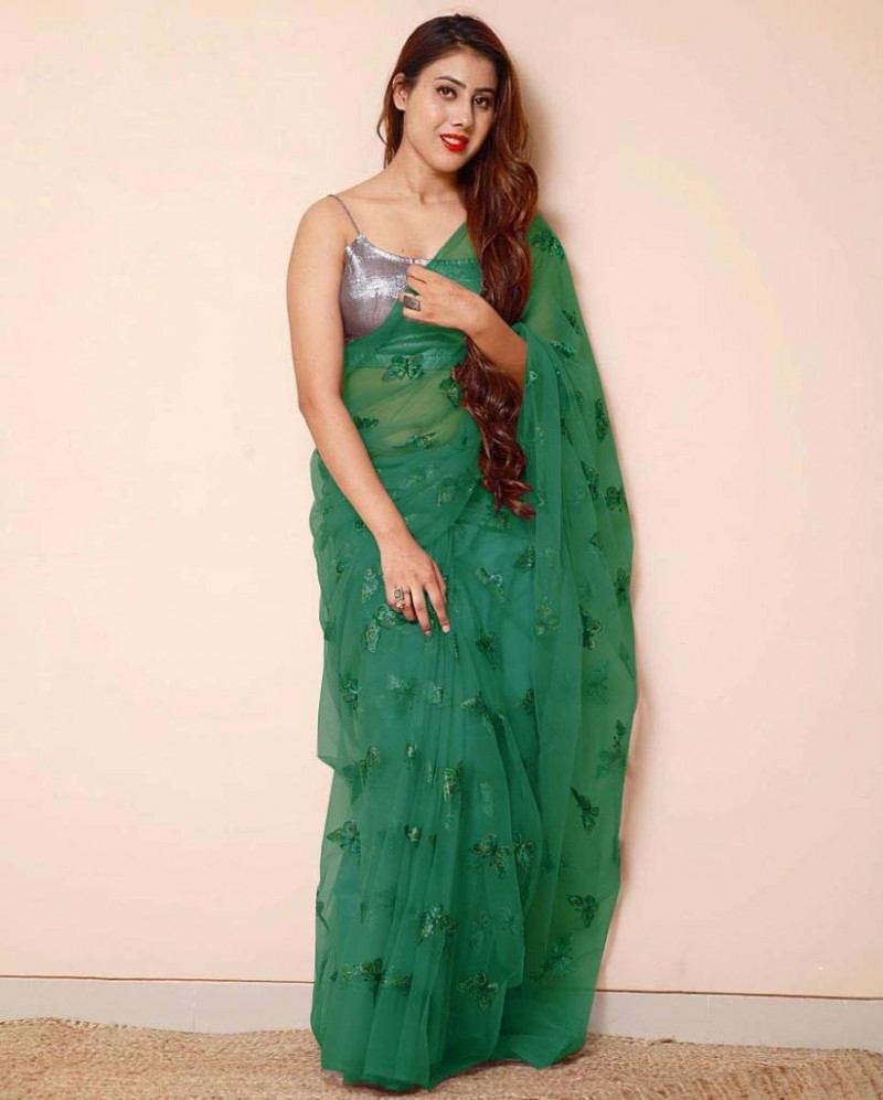 Green Color Butterfly Sequence Work Net Saree