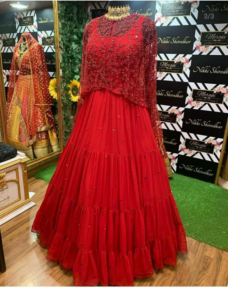 Red Color Designer Gown With Koti