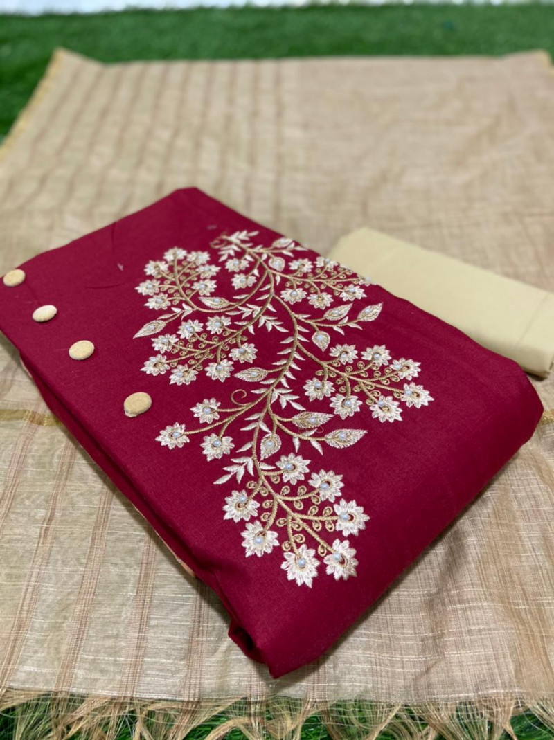 Maroon Color Embroidery Work Dress Material Suit