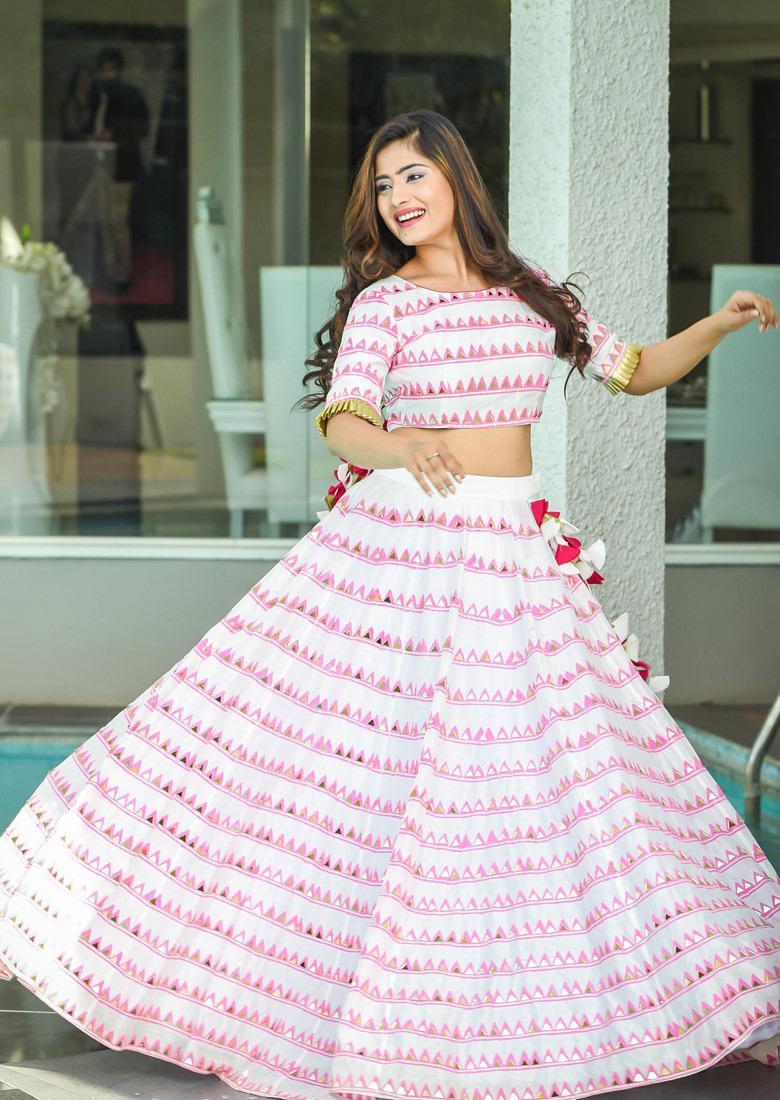 Designer White Color Butter Silk Mirror Work Lehenga Choli