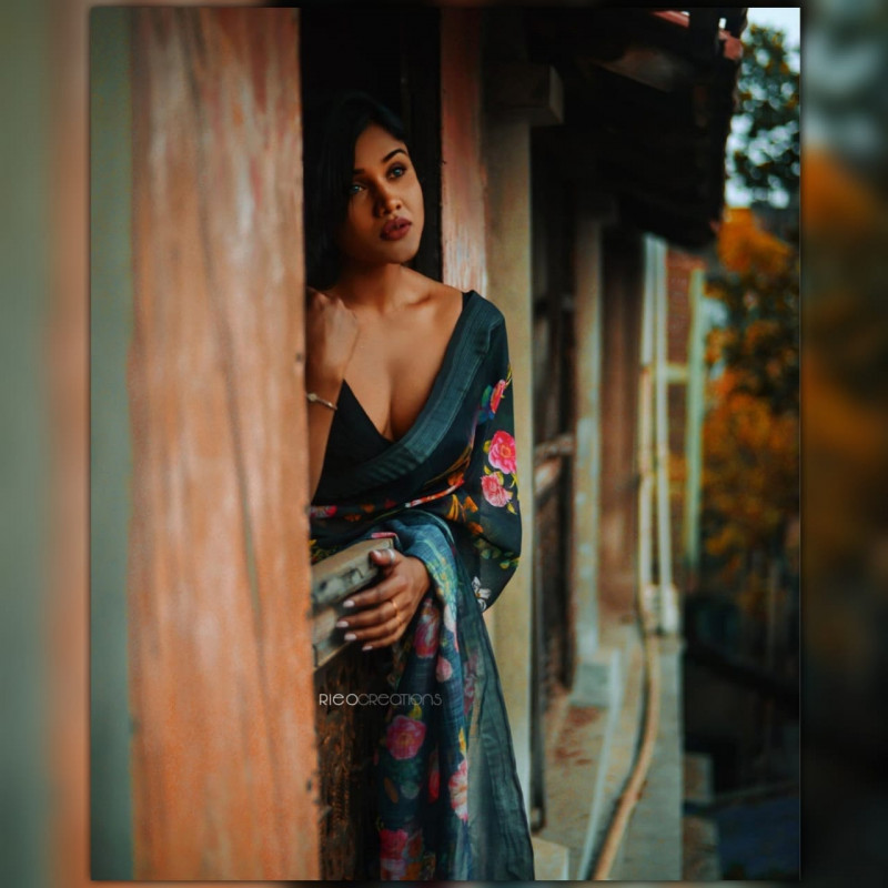 Beautiful Designer Printed Soft Silk Linen Saree