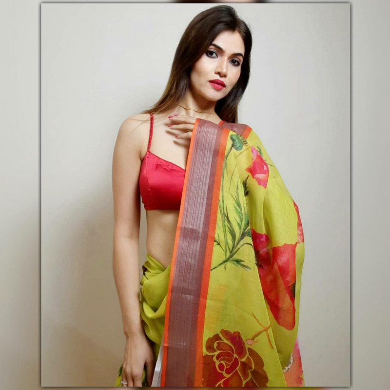 Green Color Soft Silk Printed Party Wear Saree