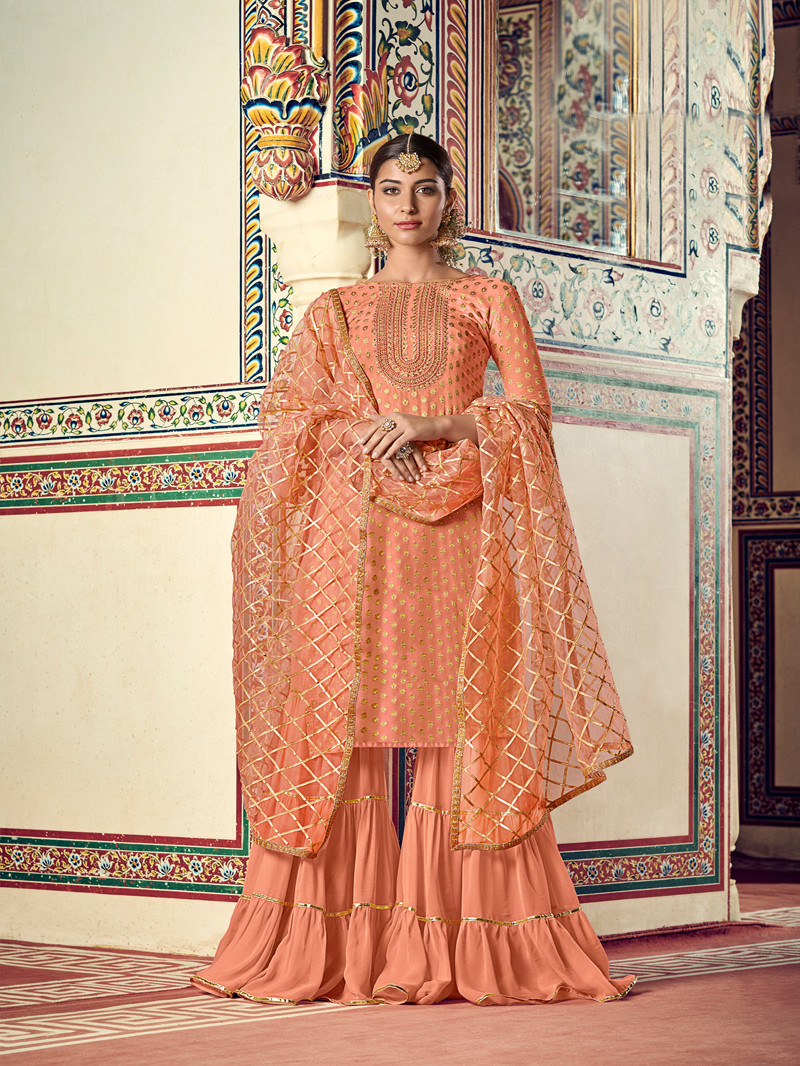 Orange Jacquard Straight Style Suit