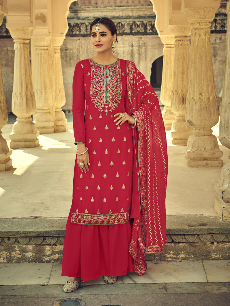 Red Chinnon Straight Style Suit