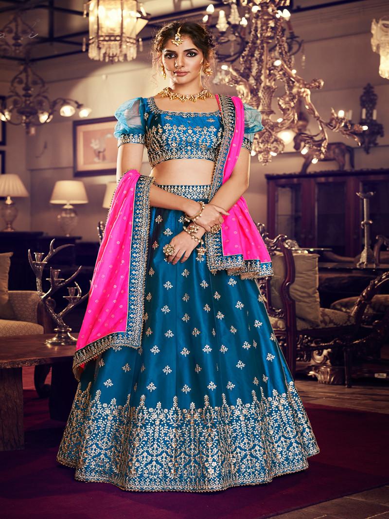 Blue Satin Silk Lehenga
