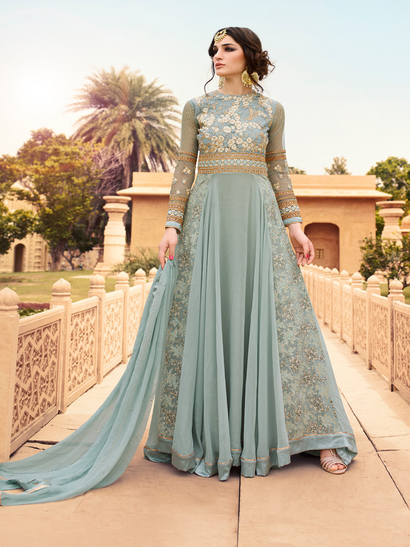 Embroidered Georgette Anarkali Suit in Grey