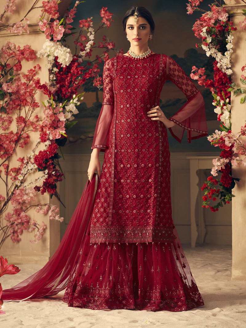 Embroidered Net Straight Suit in Maroon