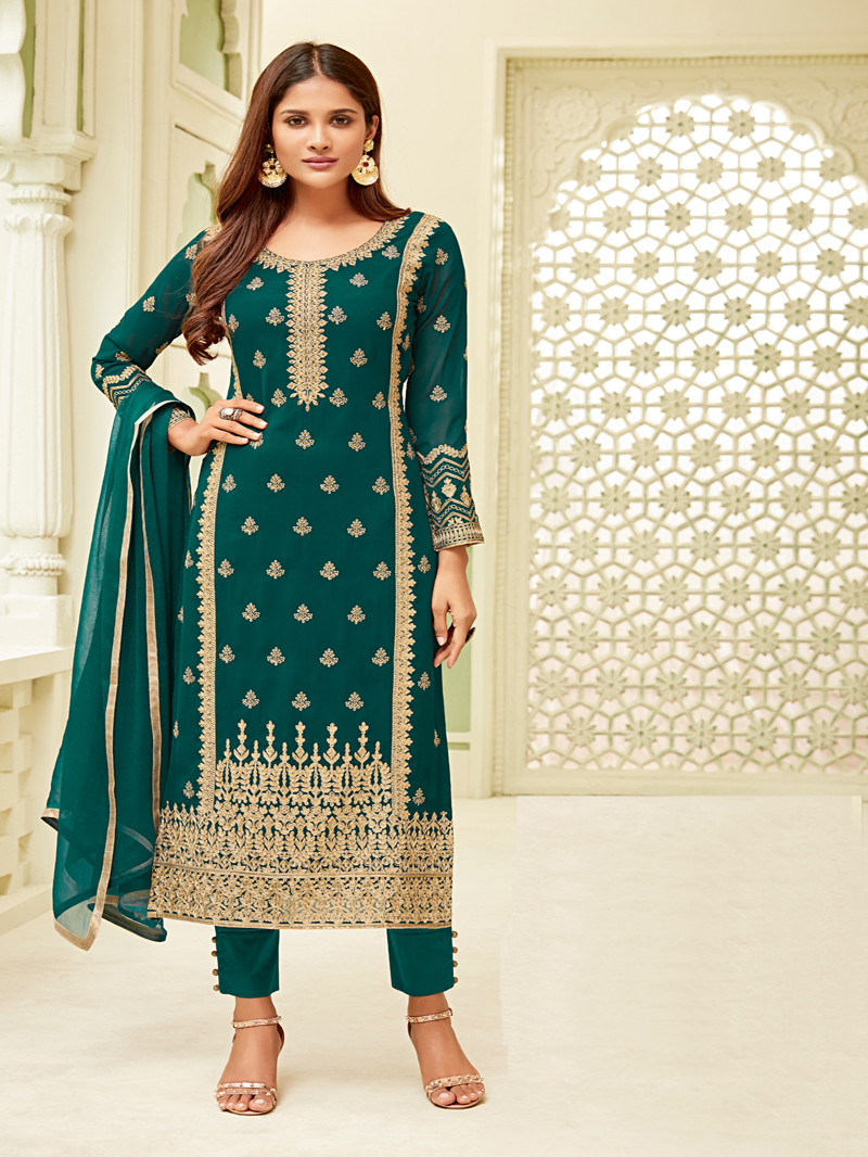 Embroidered Georgette Straight Suit in Green