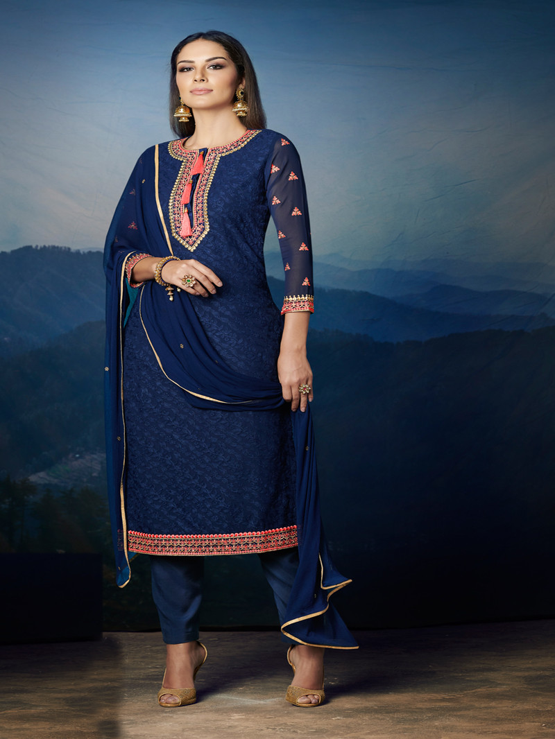 Embroidered Georgette Straight Suit in Blue