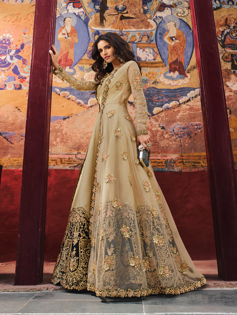 Embroidered Net Anarkali Suit in Beige