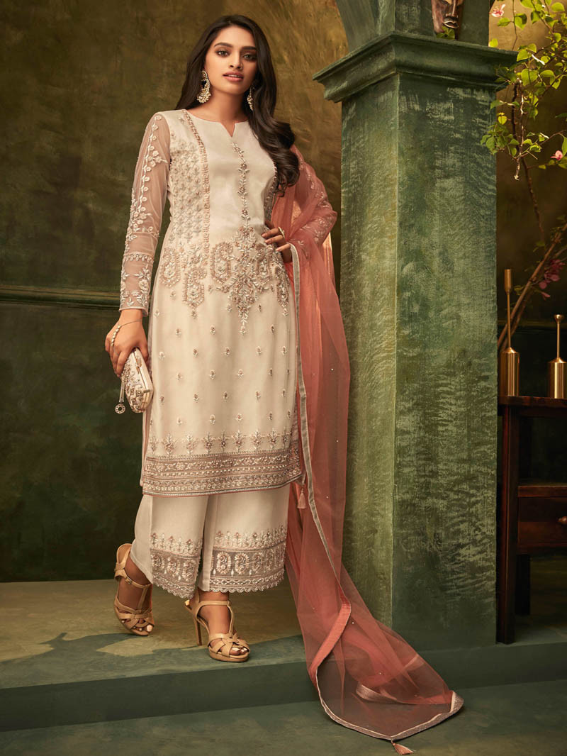 Embroidered Net Straight Suit In Off White