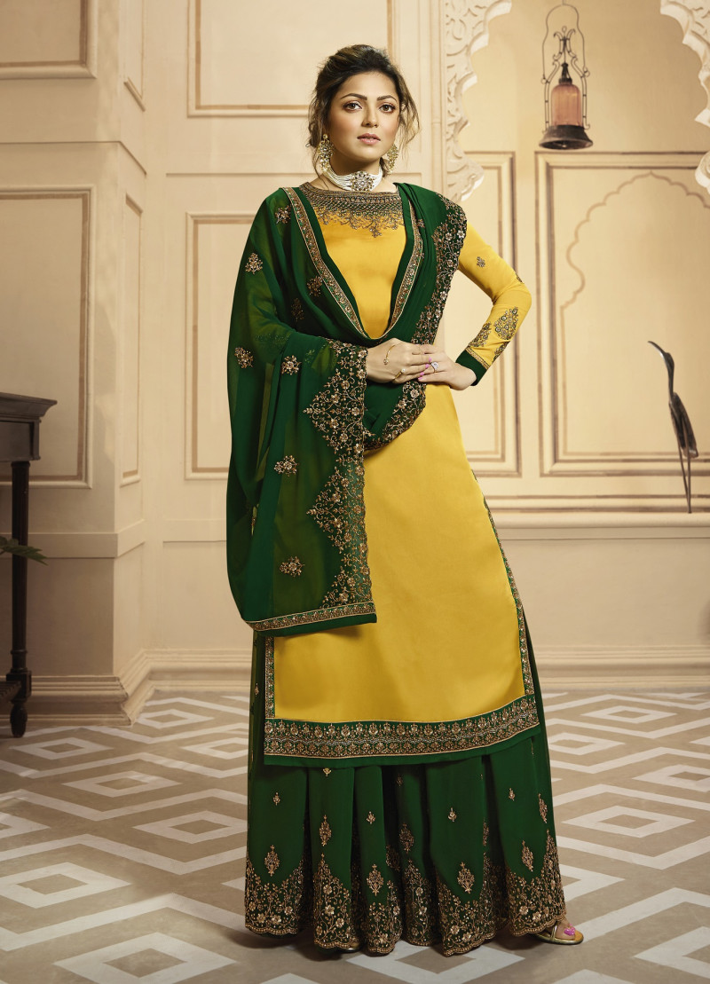 Embroidered Satin Georgette Straight Palazoo Suit In Yellow