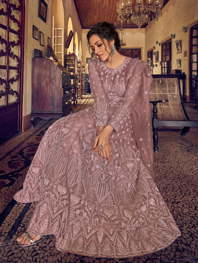 Pink Net Embroidered and Stone Work Anarkali Suit