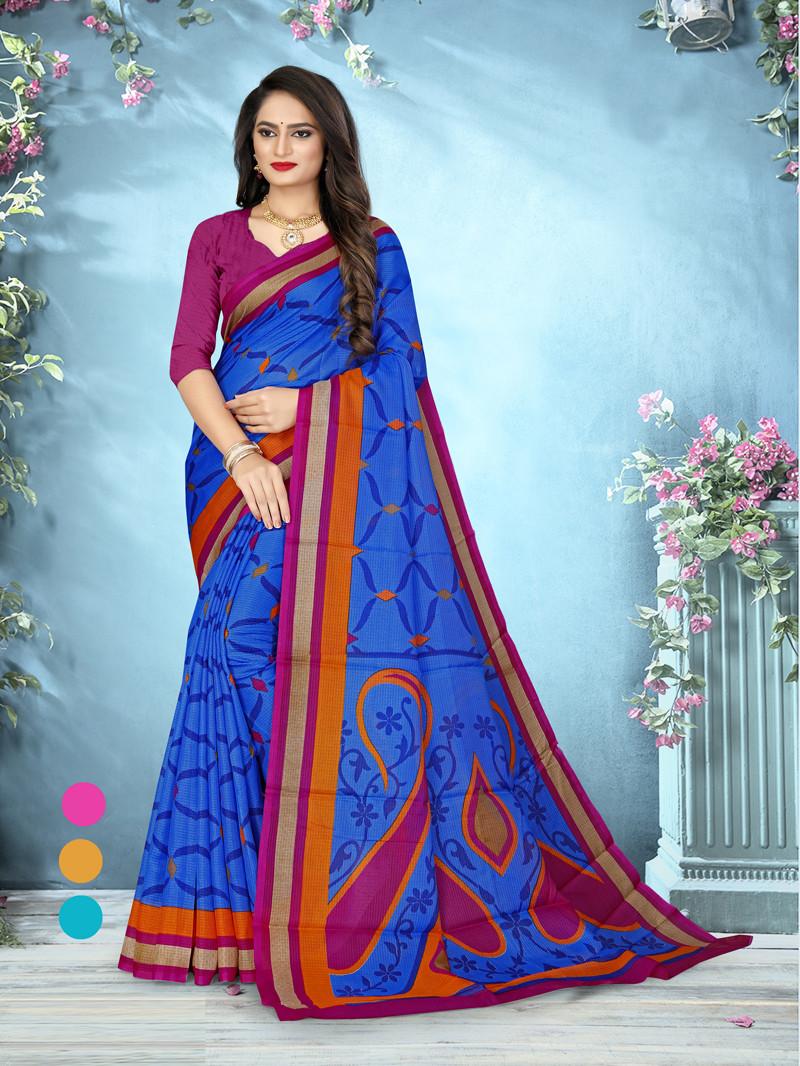Blue Digital Print Cotton Silk Saree