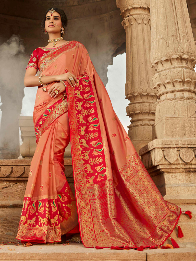 Peach Patola Woven Art Silk Saree with Embroidered Blouse
