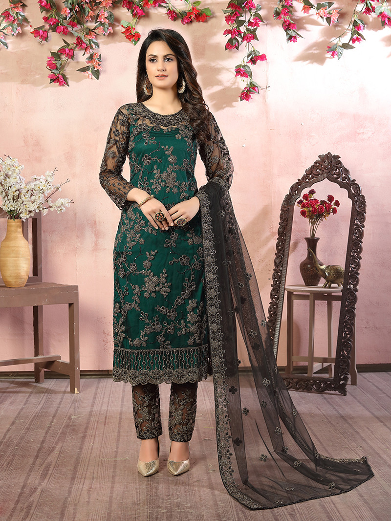Green Embroidered Net Straight Style Pant Suit