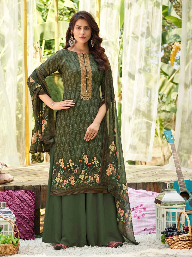 Green Digital Printed Cotton Straight Palazoo Suit
