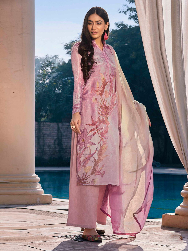 Digital Printed Cotton Silk Straight Palazoo Suit in Lilac