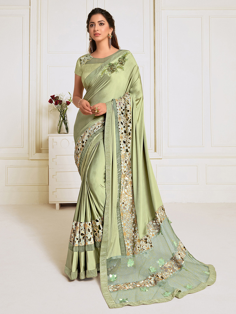 Embroidered Lycra Party Wear Green Saree