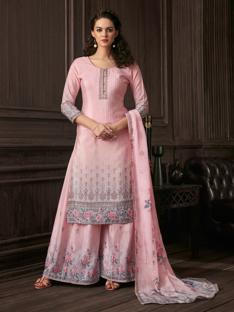 Digital Printed and Sequins Work Muslin Straight Palazoo Suit in Pink
