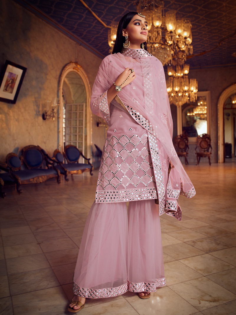Mirror Embroidered Organza Pink Straight Sharara Suit