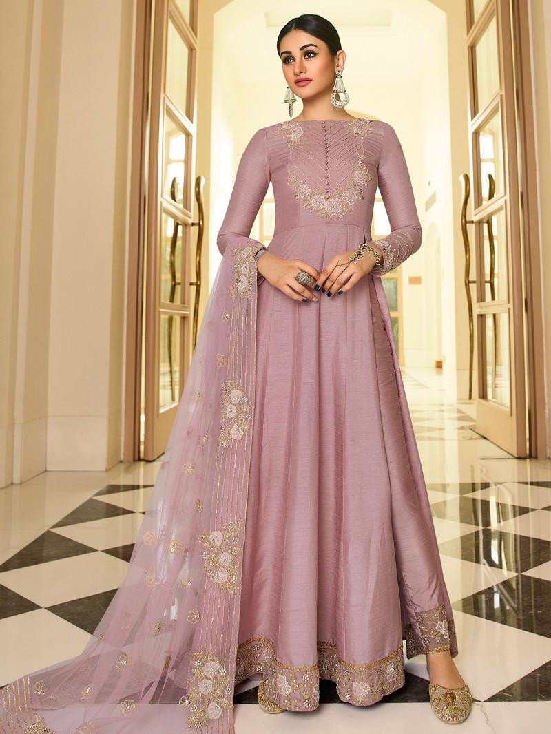 Embroidered Art Silk Pink Anarkali Suit