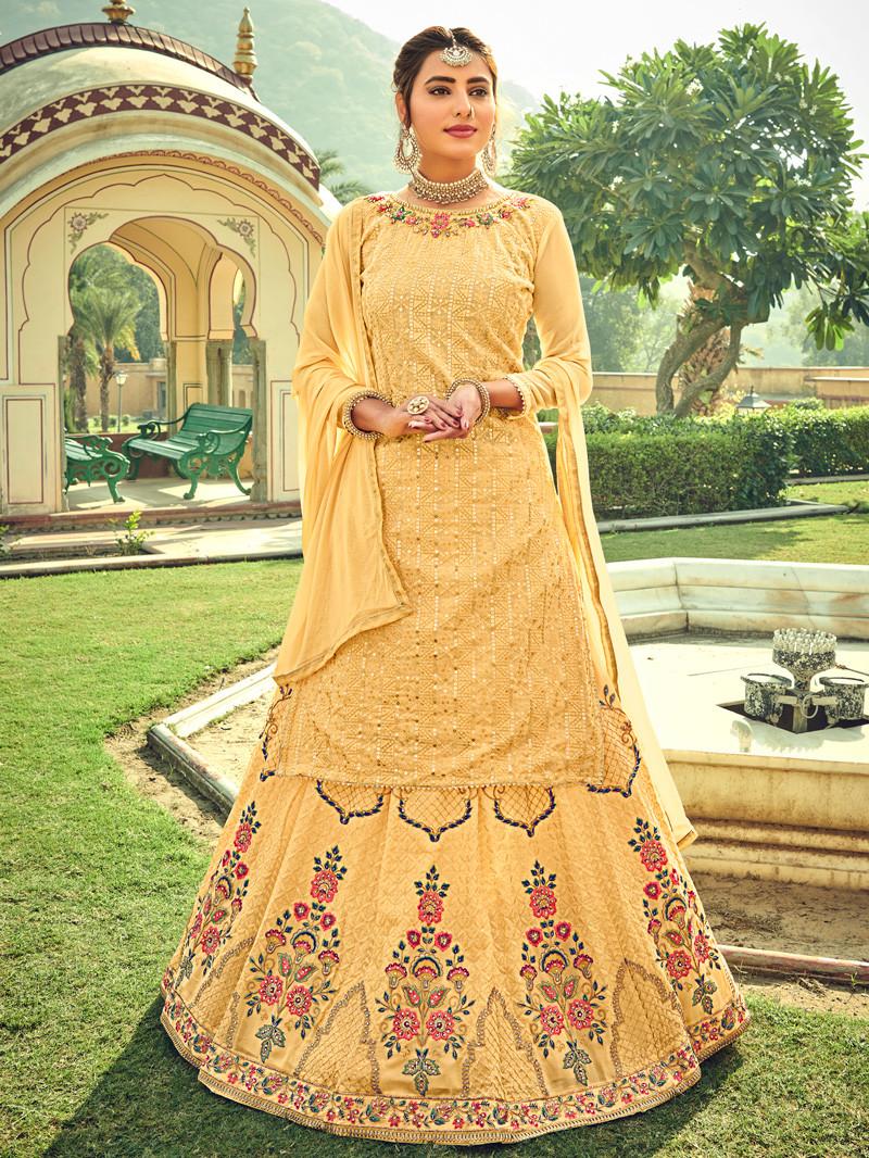 Georgette Embroidered Yellow Lehenga