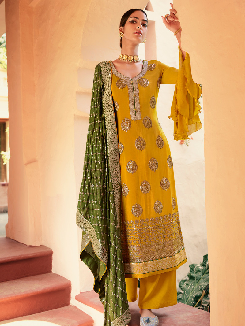 Mustard Chinnon Straight Palazoo Suit with Sequins work and Jacquard border Dupatta