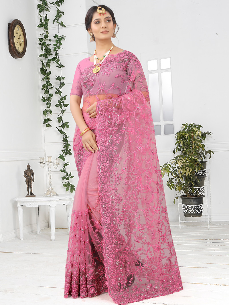 Red Net Embroidered and Diamond work  Saree