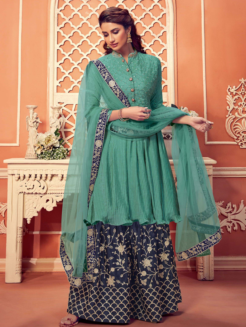 Embroidered Chinnon Anarkali Sharara Suit in Green