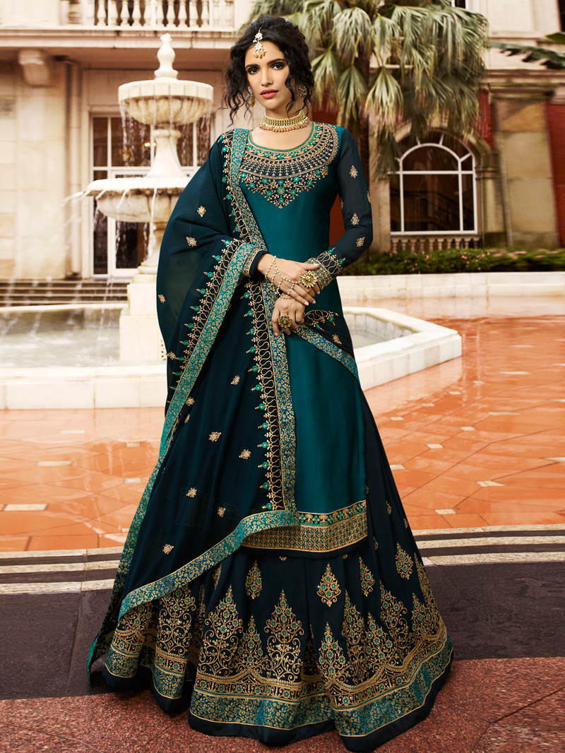 Embroidered Satin Georgette Lehenga In Teal Blue