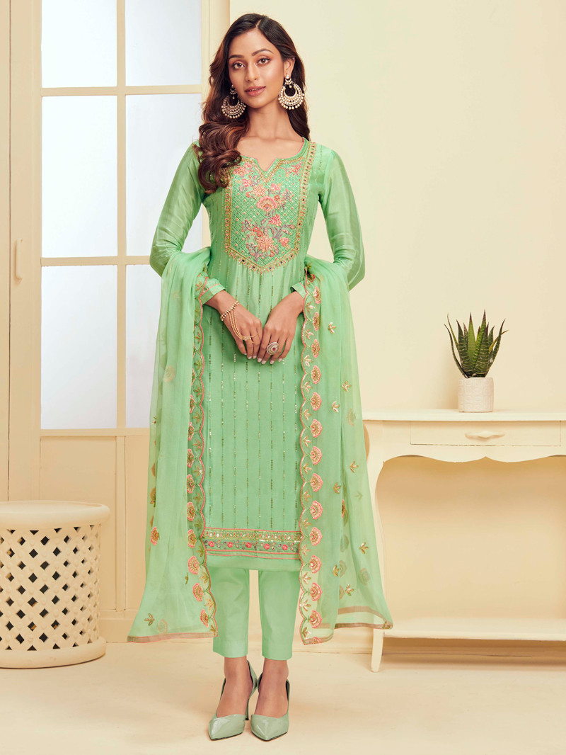 Green Embroidered Georgette Straight Pant Suit