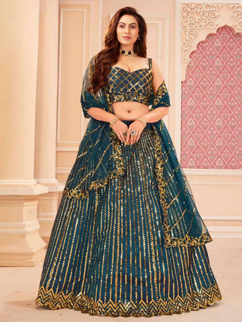 Satin Silk Sequins Work Teal Blue Lehenga