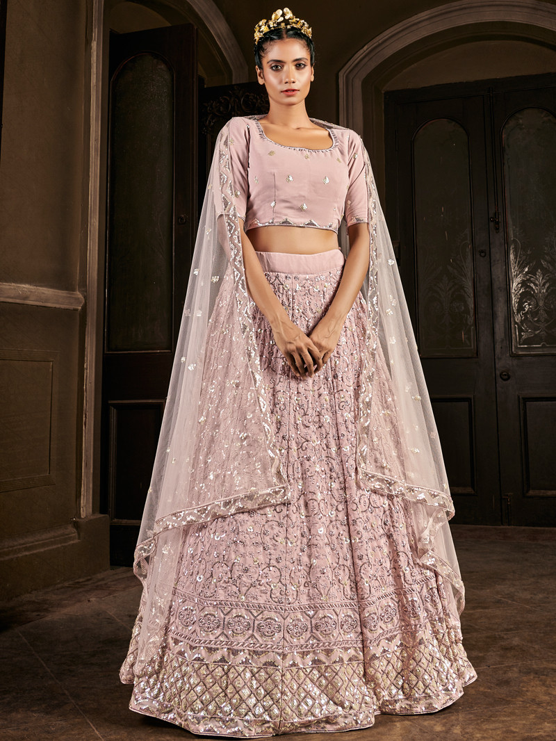 Embroidered and Sequins Work Georgette Lehenga in Pink