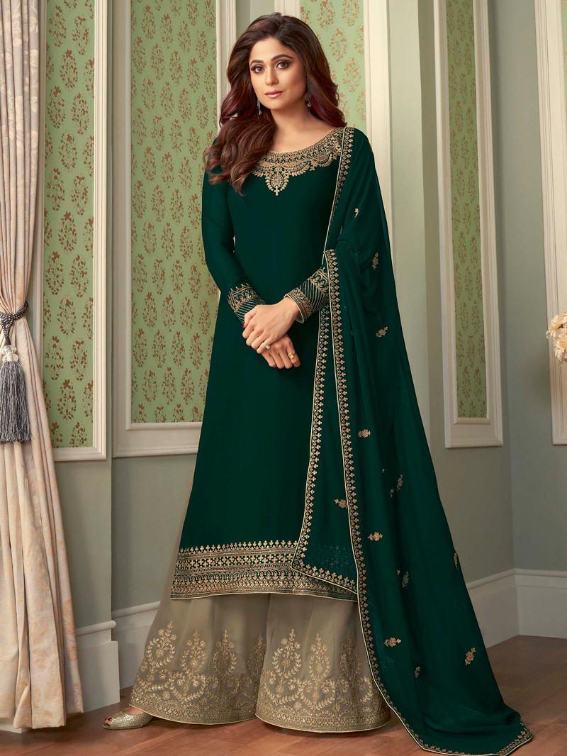 Georgette Embroidered Straight Palazoo Suit in Green