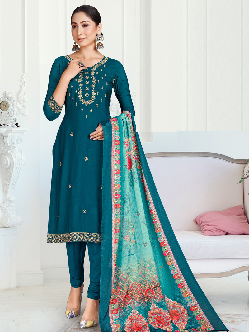 Teal Blue Muslin Straight Suit with Printed Dupatta