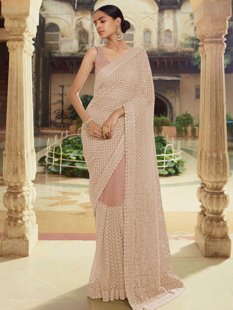 Net Embroidered Saree in Peach