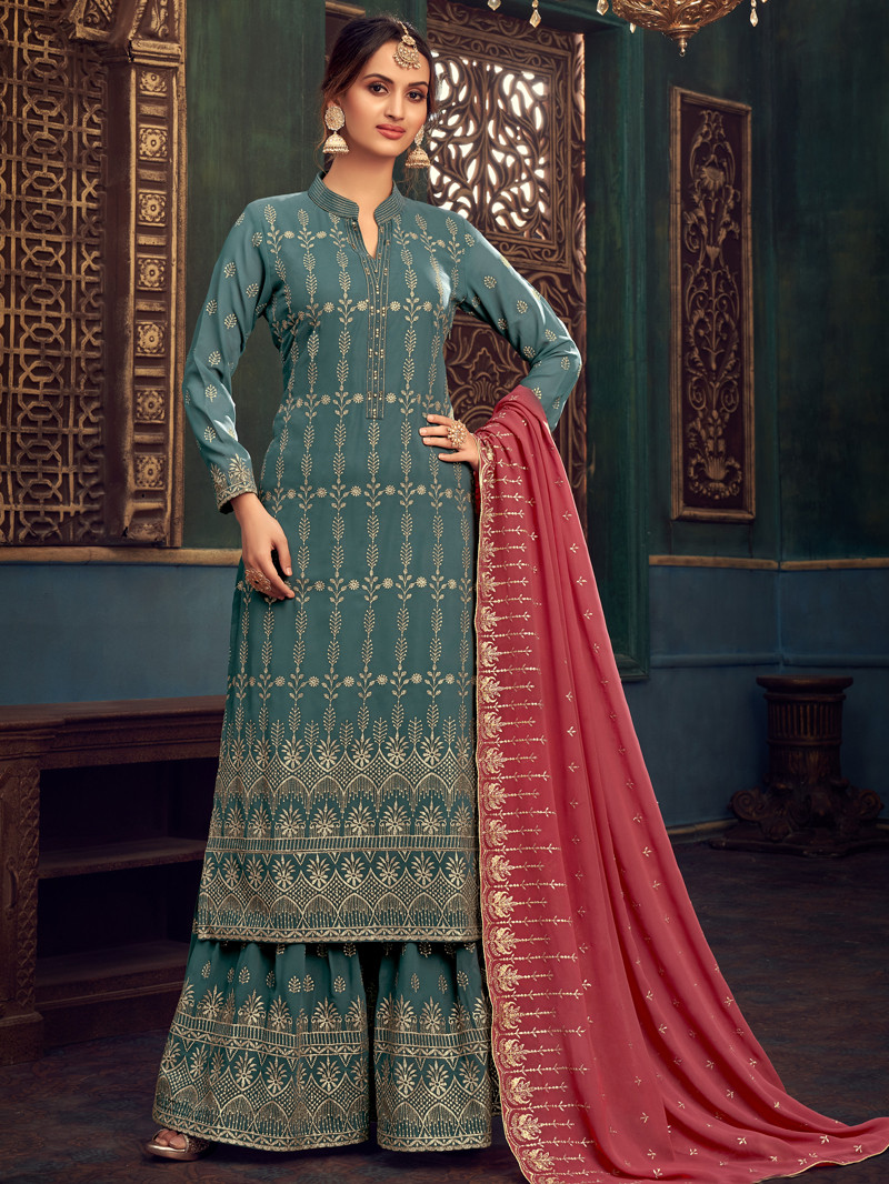 Dusty Blue Georgette Embroidered Straight Palazoo Suit