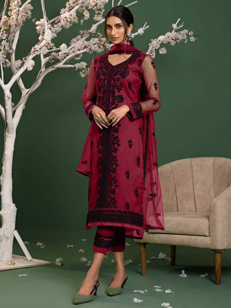 Net Embroidered Straight Pant Suit in Pink