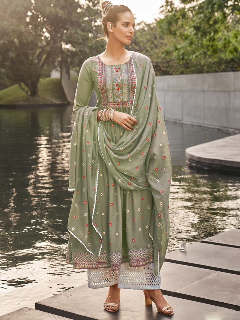 Dusty Green Rayon Printed Straight Palazoo Suit