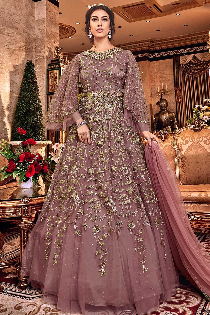 Heavy Embroidered Work Mauve Color Cocktail Partywear Net Dress