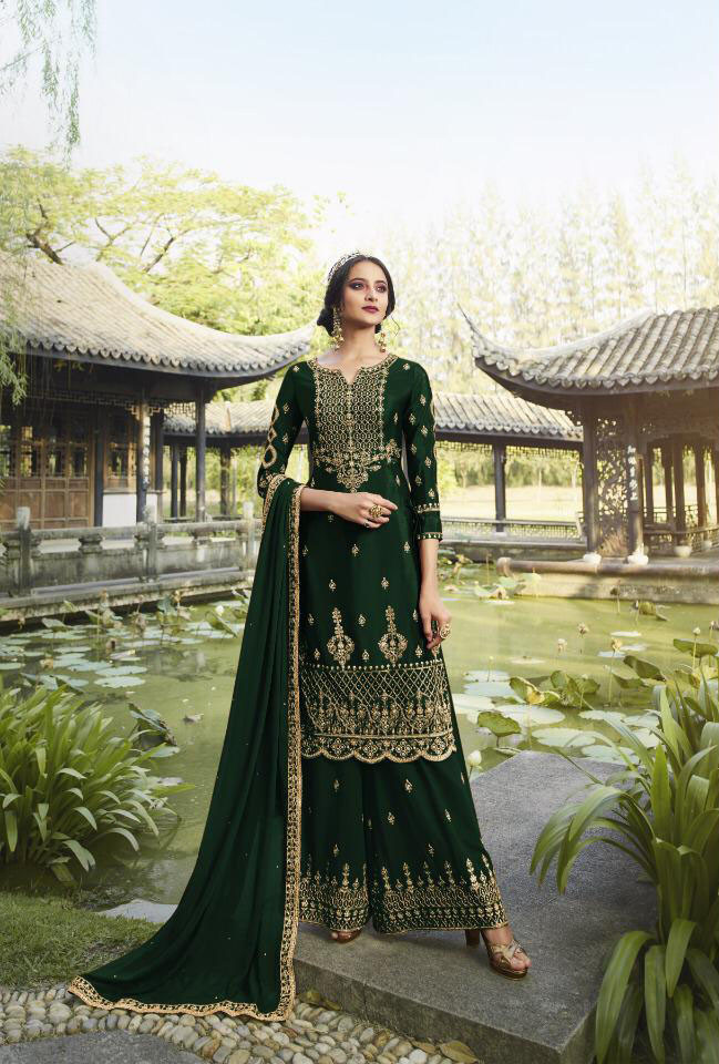 Adoring Faux Georgette Green Color Sharara Suit