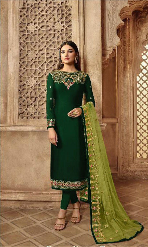 Georgette Top Green With Fully Embroidered Sarara Set